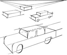 By placing one box over another and rounding the edges, you have the basic perspective of a car.
