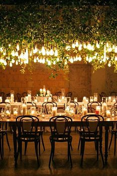 Romantic clean white tabletops lit up by overhead hanging lights Farm Table Wedding, Rustic Wedding, Wedding Seating, Garden Wedding, Wedding Bride, Romantic Wedding Receptions, Romantic Weddings, Wedding Scene, Wedding In The Woods
