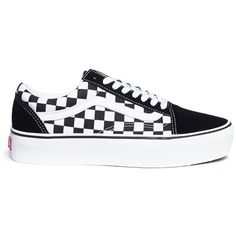 Vans 'Old Skool' checkerboard canvas flatform unisex sneakers ($70) ❤ liked on Polyvore featuring shoes, sneakers, canvas trainers, vans sneakers, canvas sneakers, canvas shoes and urban sneakers