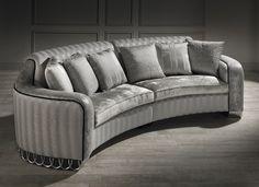 small curved sofa, luxury small curved sofa, silver sofa,