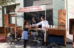 #122: War Gastronomy: Recipes of Relocation, San Francisco / SanFran Studios / A mobile kitchen and cafe made from bikes and travel trunks serves dishes along with the stories attached to them. #SpontaneousInterventions #VeniceBiennale
