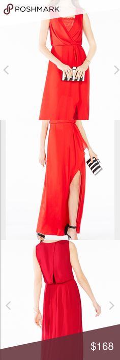 BCBGMaxAzria - Red Maxi Lace inset ruffled dress. Beautiful for different occasions. BCBGMaxAzria Dresses Maxi