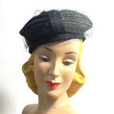 $20 sale Black and Silver Lurex Cocktail Hat circa 1960s - Dorothea's Closet Vintage