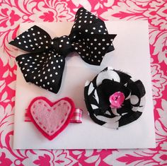 Black and Pink Hair Bow Set