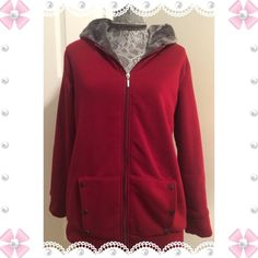 Burgundy fleece lined hoodie/coat Burgundy hoodie coat that's lined with fleece all over. Warm and cozy. NWT. Size 2X that fits like XL or L. Buttons on front pockets. Jackets & Coats