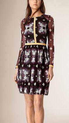 Purple black Tie-dye Print Silk Blend Dress - Image 1