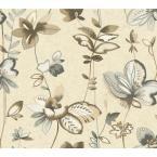 Watercolors Whimsical Garden Wallpaper, Creamy Pearl/Grey/Brown
