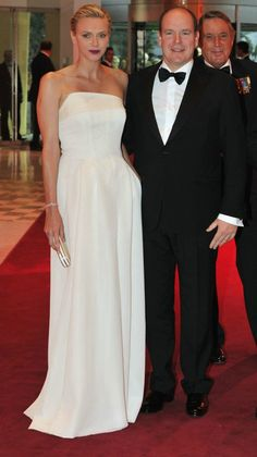 Prince Albert and Princess Charlene, in Akris at Grand Prix of Monaco Gala dinner at Sporting Club/Casino of Monte-Carlo Monte Carlo, Prince Albert Of Monaco, Albert Monaco, Princesa Charlene, Cheap Club Dresses, Monaco Grand Prix, Monaco Royal Family, Princess Caroline Of Monaco, Casa Real