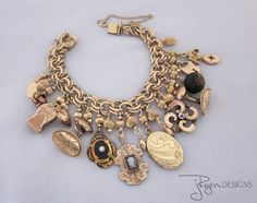 Antique Charm Bracelet, Victorian Locket, Gold Filled, Watch Fob, Cuff Links, Button, Cameo, Vintage OOAK Repurposed Jewelry - JryenDesigns by jryendesigns on Etsy https://www.etsy.com/listing/212061084/antique-charm-bracelet-victorian-locket