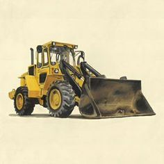 Classic Yellow Bulldozer Canvas Reproduction