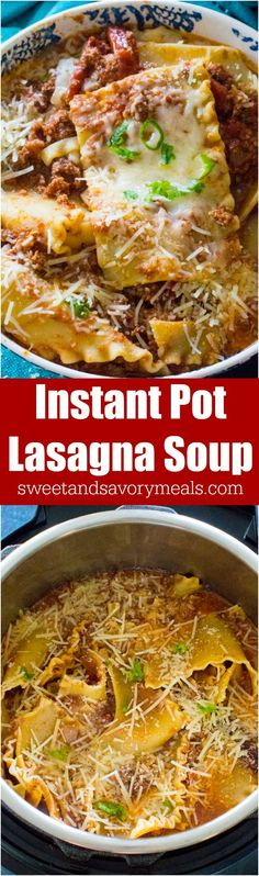 Best Instant Pot Lasagna Soup is such an easy and flavorful meal made in the Instant Pot with ground beef, Italian spices and a tasty tomato broth. #instantpot #pressurecooker #italian #soup #lasagna