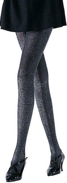 Costume Accessory fnt Black Silver Adult size Glitter Lurex Tights
