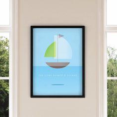 """Tão livre quanto o oceano.  - O pôster """"Um Barco"""" é nosso lançamento da semana e está disponível em nosso site em 4 tamanhos e 6 opções de cores diferentes de moldura.  Solte as âncoras. - http://ift.tt/1dqyBxz (link na bio). #nacasadajoana #abaixoasparedesvazias #pôster #posters #quadros #enquadrados #design #decoração #decor #interiordesign #pinterest #meunacasadajoana #casa #lar #mar #oceano #liberdade #barco"""