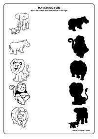 Animals Worksheets,Matching Worksheets for Kids