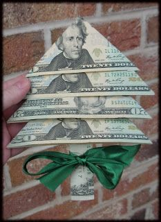 Money Tree Origami Cash is ALWAYS a good gift.Fold your Christmas money into little Christmas tree Little Christmas Trees, Noel Christmas, Winter Christmas, Christmas Ideas, Handmade Christmas, Xmas Tree, Gift Wrapping Ideas For Christmas For Kids, Christmas Gift Cards, Last Minute Christmas Gifts Diy