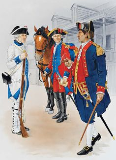 Colonial troops, Louisiana, 1769-1780s • Private, Luisiana Regiment, c. 1780  • Officer, St Louis militia cavalry, 1779  • Officer, New Orleans militia battallon, c. 1780
