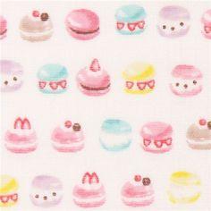 macaron sweets double gauze fabric by Kokka from Japan