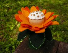 Large Orange Peg Doll Flower Fairy, Waldorf Inspired, Wool Felt Fairy
