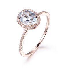 Oval Aquamarine Engagement Ring Pave Diamond Wedding 14K Rose Gold 6x8mm