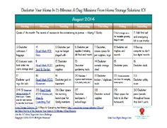 Free printable August 2014 decluttering calendar, with daily 15 minute missions {on Home Storage Solutions 101}