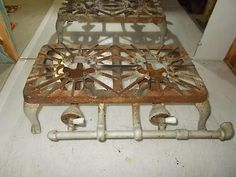 Antique FAVORITE No 77 DOUBLE 2 Burner Cast Iron Camp STOVE Table Top Gas  Grill