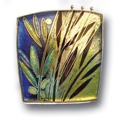Carolyn Delzoppo - Brooch – Rainforest, 2007 - Stg and fine silver, cloisonné enamel From a series of three brooches about rainforests and the wet season