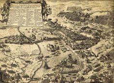 az 1684-es ostrom , Giovanni Giacomo metszetén, alul a Szt. András (Margit) sziget déli fele