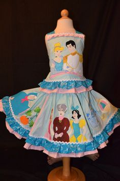 Items similar to Disney Princess custom boutique twirl set dress Cinderella on Etsy Disney Princess Dresses, Disney Dresses, Disney Outfits, My Sewing Room, Sewing For Kids, Costume Ideas, Costumes, Cute Sewing Projects, Cinderella Party