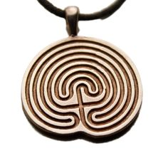 Minoan Labyrinth Peace Bronze Pendant Necklace on Adjustable Natural Fiber Cord The Minotaur, Meditation Garden, 2d Design, Minoan, Bronze Pendant, Mythical Creatures, Maze, Biodegradable Products, Fiber