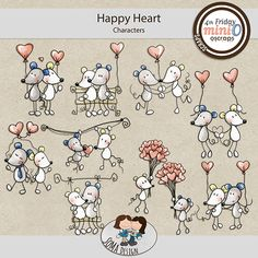 SoMa Design: Happy Heart - MiniO - Characters Random Stuff, Cool Stuff, Happy Heart, Color Mixing, Digital Scrapbooking, Characters, Kit, Comics