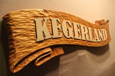 "Custom Wood Signs by Lazy River Studio - This is a carved wooden sign for the Keger Family... made from pine and 36"" wide X 1.5"" thick.  www.lazyriverstudio.com #homesigns #carvedsigns #customwoodsigns"