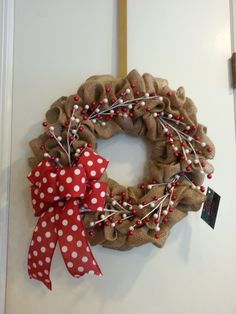 Burlap Wreath with Red Polka Dot Bow by CrafttasticWreaths on Etsy