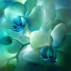 "Annette Schmucker, ""Orchideen, türkis-grün"" With a click on ""Send as art card"", you can send this art work to your friends - for free!"
