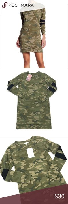 """NWT Love Fire Camo Sweatshirt Dress Size Small Love Fire Camo Sweatshirt Dress Long Sleeves Women's Size Small   Pit to Pit: 18""""  Shoulder to shoulder: 14.5""""  Length: 33""""  Condition: New with tags. Love Fire Dresses Mini"""
