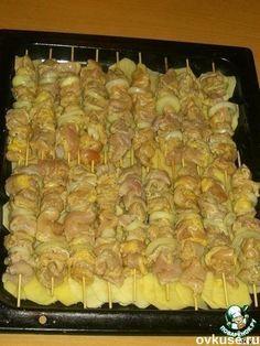 Куриный шашлык с картошкой в духовке