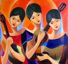 Mexican Paintings, Indian Art Paintings, Modern Art, Contemporary Art, Filipino Art, Sunflower Crafts, Philippine Art, Arte Popular, Pastel