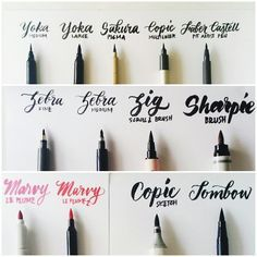 A guide to brush lettering. Brush lettering gives designs a handmade feel without the casual-ness of a chalkboard. A guide to brush lettering. Brush lettering gives designs a handmade feel without the casual-ness of a chalkboard. Calligraphy Letters, Typography Letters, Modern Calligraphy, Typography Design, Learn Calligraphy, Best Calligraphy Pens, Caligraphy Pen, Chalk Typography, Calligraphy Tutorial