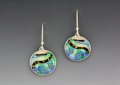 Blue and Green Circular Enameled Abstract Cloisonne Earrings by Anna Tai | avail - Artful Home  <3<3<3I JUST LOVE EVERYTHING ABOUT ANNA'S JEWELLERY! THE BEAUTIFUL & OFTEN VIBRANT  COLOURS/WHIMSICAL DESIGNS MIXED W' GEMS & PRECIOUS METALS (I'D <3 TO OWN A PIECE...sigh), SIMPLY STUNNING!<3<3<3