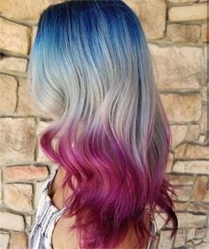 11 Patriotic Looks that Will Steal Any Firework Show - Inspiration - Modern Salon Exotic Hair Color, Hair Color Blue, Hair Dye Colors, Cool Hair Color, Blue And Red Hair, Dyed Hair Blue, College Hairstyles, Holiday Hairstyles, Pretty Hairstyles