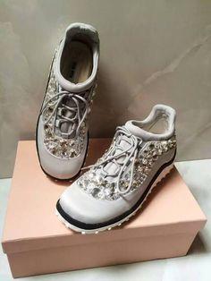 86d9f285384 Miu Miu Astro Swarovski Crystal Satin Running Sneakers Grey