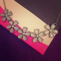 Light Blue and Crystal Floral Necklace  Darling floral necklace with light blue gem petals and sparkling rhinestone centers. So cute with almost anything, day or night! Forever 21 Jewelry Necklaces