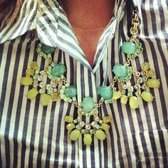 Up close statement necklace and striped Old Navy top