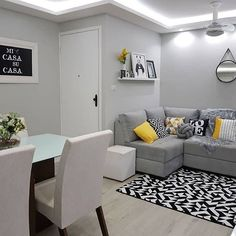 44 small apartment decorating ideas and inspiration 26 Living Room Ideas 2019, Living Room Grey, Home And Living, Living Room Decor, Small Living, Interior Design Living Room, Living Room Designs, Small Apartment Decorating, Small Apartments