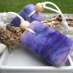 More inspiration for LearnToFelt.com felted soaps! felted soap on a rope!
