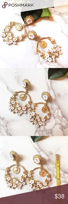 """Beautiful Long Baroque rose DG style earrings Beautiful earrings made with gold tone metal leafs , hand made ceramic rose, large and small crystals. Very delicate and elegant piece! Super Dolce&Gabbana style. Very iconic , eye catching piece. Brand new come with pouch. 3"""" long from top to bottom Jewelry Earrings"""
