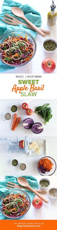 Boasting fresh fruits and basil, this Sweet Apple Basil Slaw reinvents the classic side dish. Paleo Salad Recipes, Veggie Recipes, Whole Food Recipes, Paleo Food, Vegan Foods, Paleo Diet, Healthy Cooking, Healthy Eating, Healthy Recipes