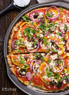 This cauliflower pizza base makes very decent pizzas! Low carb pizza, who da thunk it.