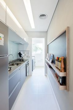 Browse photos of Small kitchen designs. Discover inspiration for your Small kitchen remodel or upgrade with ideas for storage, organization, layout and decor. Long Narrow Kitchen, Narrow Kitchen Island, Long Kitchen, Gally Kitchen, Small Galley Kitchens, Home Kitchens, Modern Kitchens, Interior Design Kitchen, Kitchen Decor