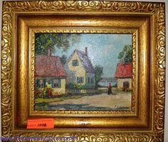 Frances H McKay. ± 1880. Painting of Maine seaside village. Gilded frame. Bids close Tues, 29 Nov from 11am ET. http://bid.cannonsauctions.com/cgi-bin/mnlist.cgi?redbird86/1028