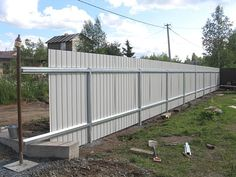 Fence Wall Design, Modern Fence Design, House Gate Design, Corrugated Metal Fence, Metal Fence Panels, Backyard Pergola, Backyard Landscaping, Wooden Fence Posts, Diy Privacy Fence